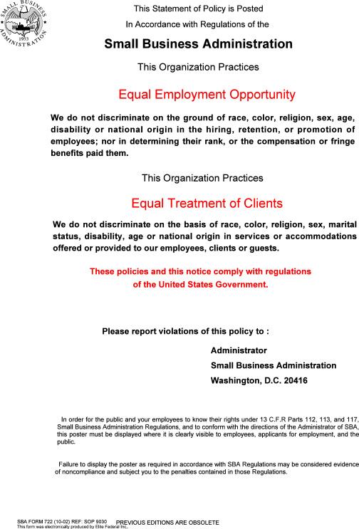 SBA Compliance Program Poster